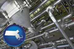 massachusetts an industrial, stainless steel piping system