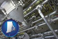 rhode-island an industrial, stainless steel piping system