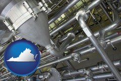 virginia an industrial, stainless steel piping system