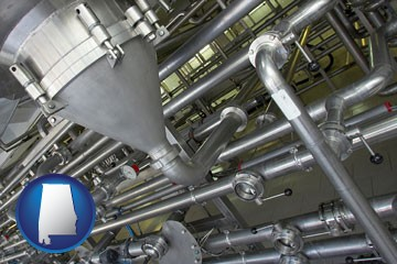 an industrial, stainless steel piping system - with Alabama icon