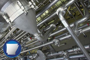 an industrial, stainless steel piping system - with Arkansas icon
