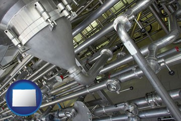 an industrial, stainless steel piping system - with Colorado icon
