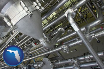 an industrial, stainless steel piping system - with Florida icon