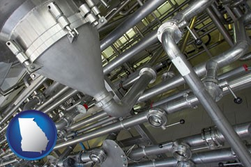 an industrial, stainless steel piping system - with Georgia icon