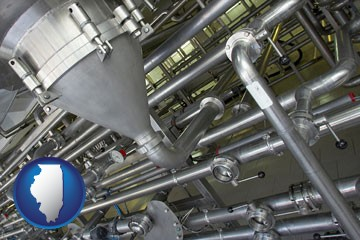 an industrial, stainless steel piping system - with Illinois icon