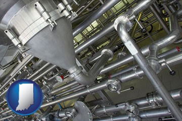 an industrial, stainless steel piping system - with Indiana icon
