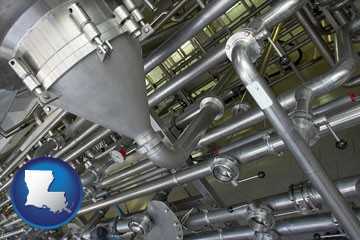 an industrial, stainless steel piping system - with Louisiana icon