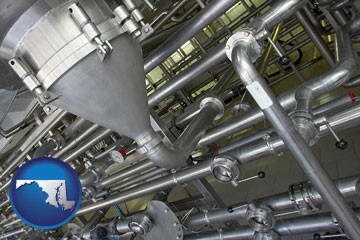 an industrial, stainless steel piping system - with Maryland icon