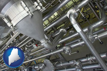 an industrial, stainless steel piping system - with Maine icon