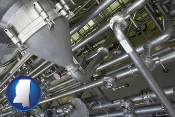 an industrial, stainless steel piping system - with Mississippi icon