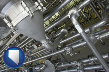 an industrial, stainless steel piping system - with Nevada icon