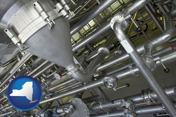 an industrial, stainless steel piping system - with New York icon