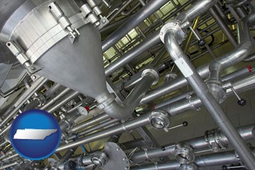 an industrial, stainless steel piping system - with Tennessee icon
