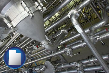 an industrial, stainless steel piping system - with Utah icon