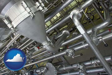 an industrial, stainless steel piping system - with Virginia icon
