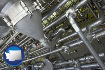 an industrial, stainless steel piping system - with Washington icon