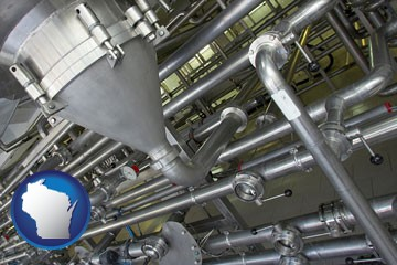 an industrial, stainless steel piping system - with Wisconsin icon