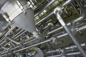 an industrial, stainless steel piping system